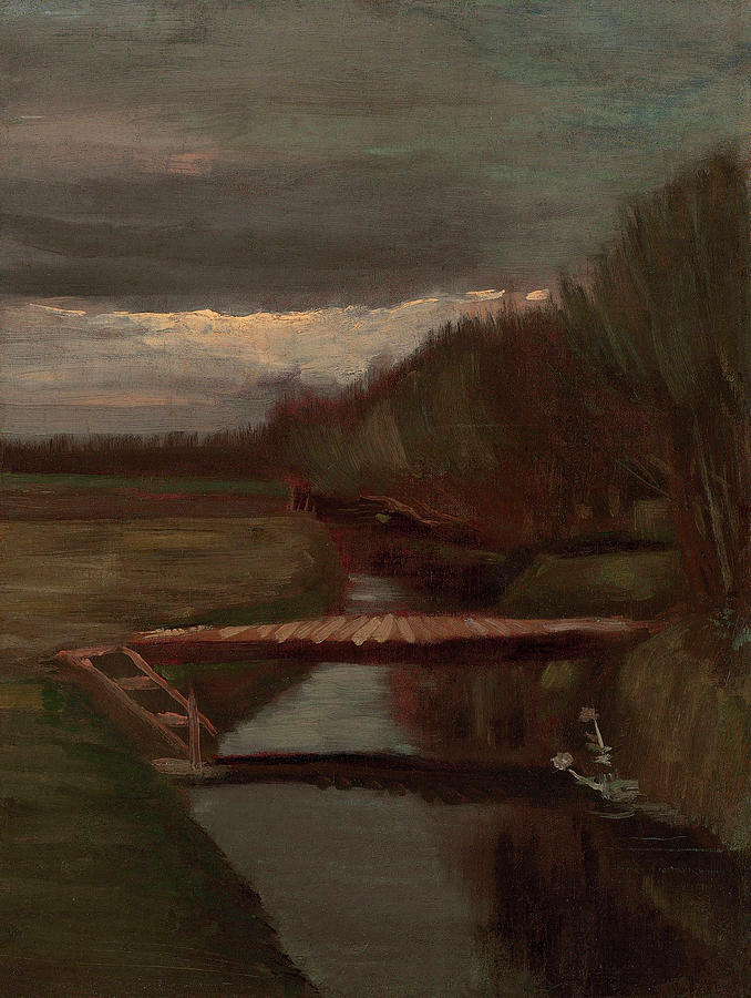 Van Gogh Ditch And Small Bridge Painting