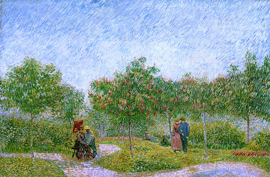 Van Gogh Garden In Montmartre With Lovers Painting  - Van Gogh Garden In Montmartre With Lovers Fine Art Print