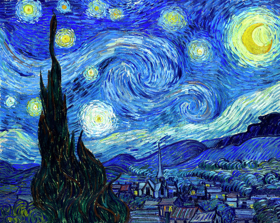 Van Gogh Starry Night Painting  - Van Gogh Starry Night Fine Art Print