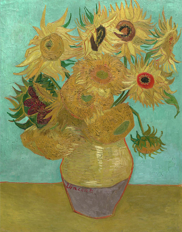 Van Gogh Vase With Twelve Sunflowers  Painting  - Van Gogh Vase With Twelve Sunflowers  Fine Art Print