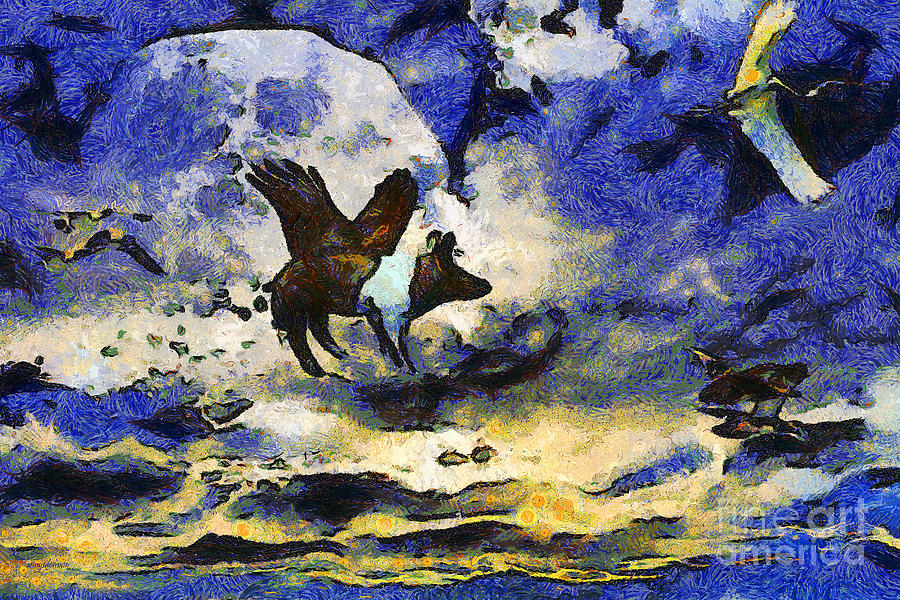 Van Gogh.s Flying Pig 2 Photograph