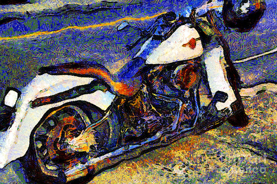 Transportation Photograph - Van Gogh.s Harley-davidson 7d12757 by Wingsdomain Art and Photography