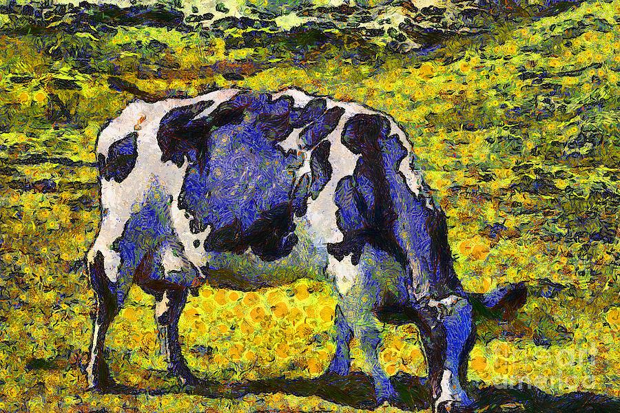 Van Gogh.s Starry Blue Cow . 7d16140 Photograph