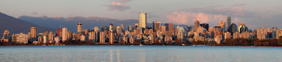 Vancouver City Twilight Panorama Photograph  - Vancouver City Twilight Panorama Fine Art Print