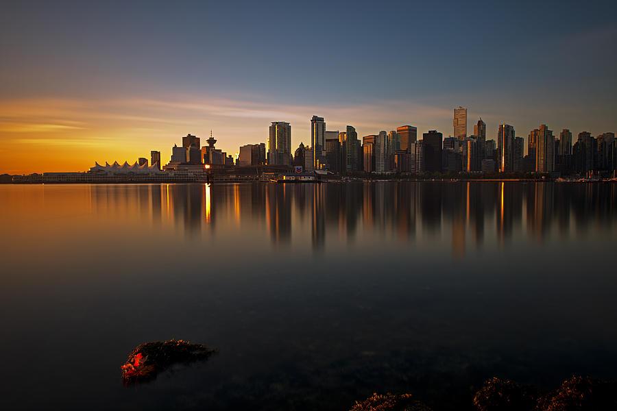 Golden Sunrise Photograph - Vancouver Golden Sunrise by Jorge Ligason