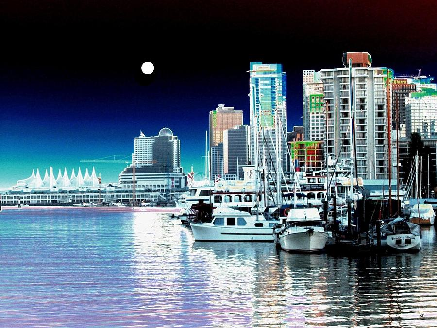 Vancouver Harbor Moonrise  Digital Art  - Vancouver Harbor Moonrise  Fine Art Print