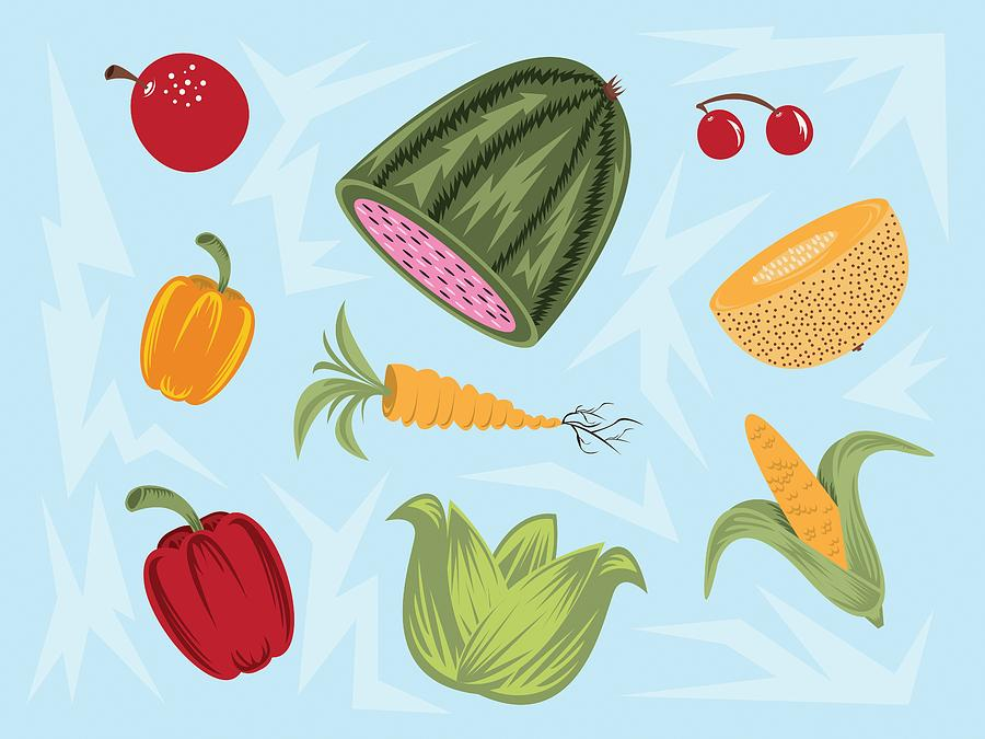 Various Fruit And Veggies Digital Art