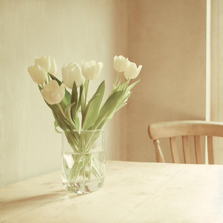 Vase Full Of White Tulips On Tabletop Photograph by Sophie ...