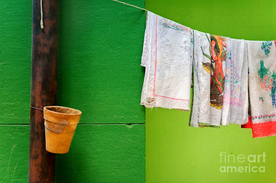 Vase Towels And Green Wall Photograph