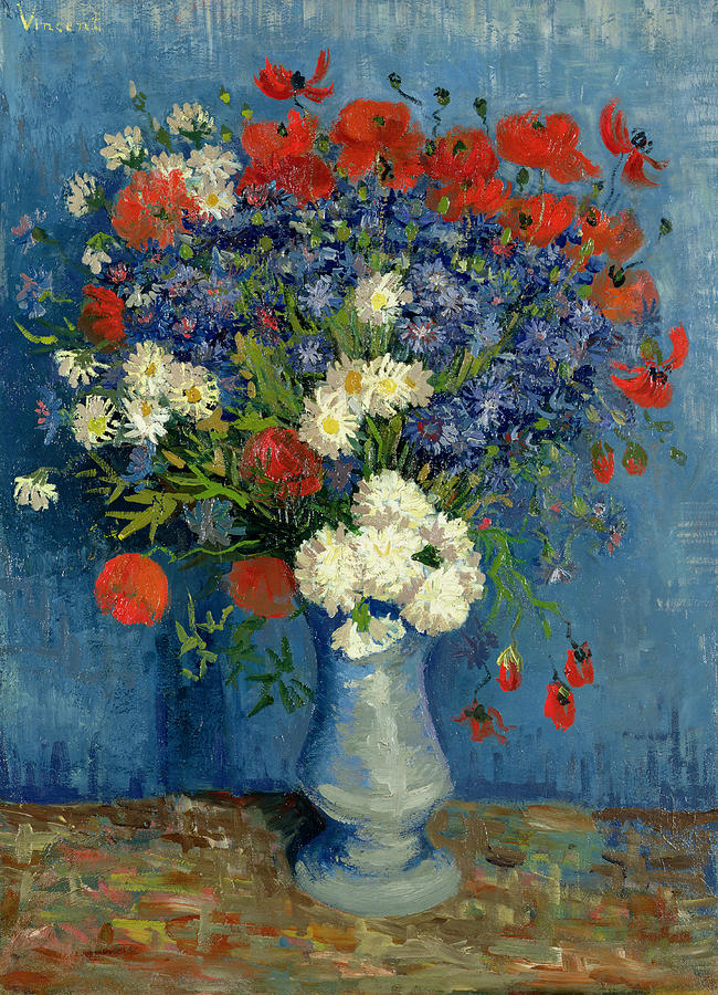 Vase With Cornflowers And Poppies Painting  - Vase With Cornflowers And Poppies Fine Art Print