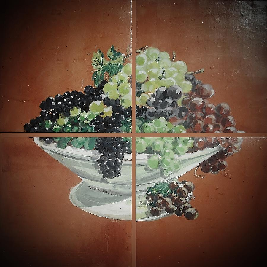 Vase With Grapes Ceramic Art  - Vase With Grapes Fine Art Print