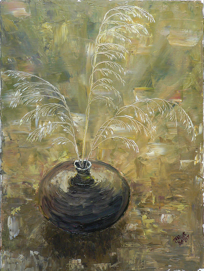 Vase With Wheat. Painting