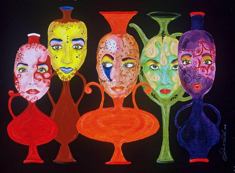 Vases With Faces Painting  - Vases With Faces Fine Art Print