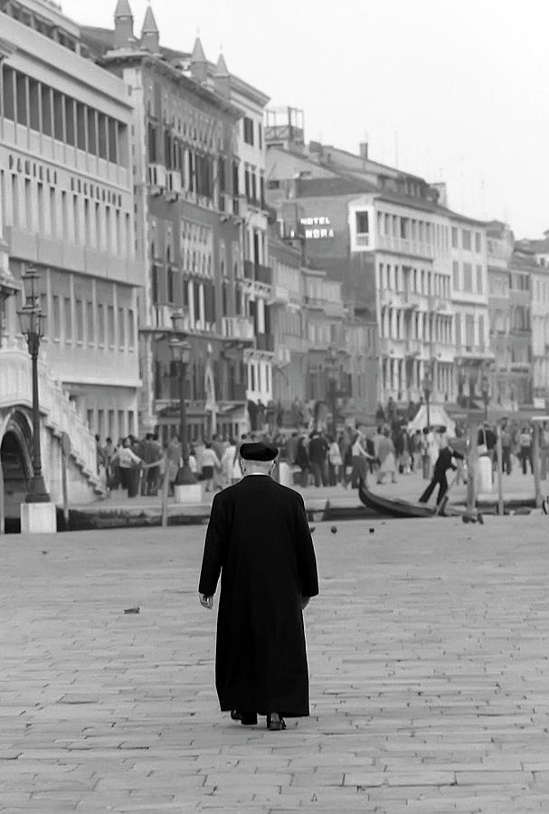 Venetian Priest And Gondola Photograph