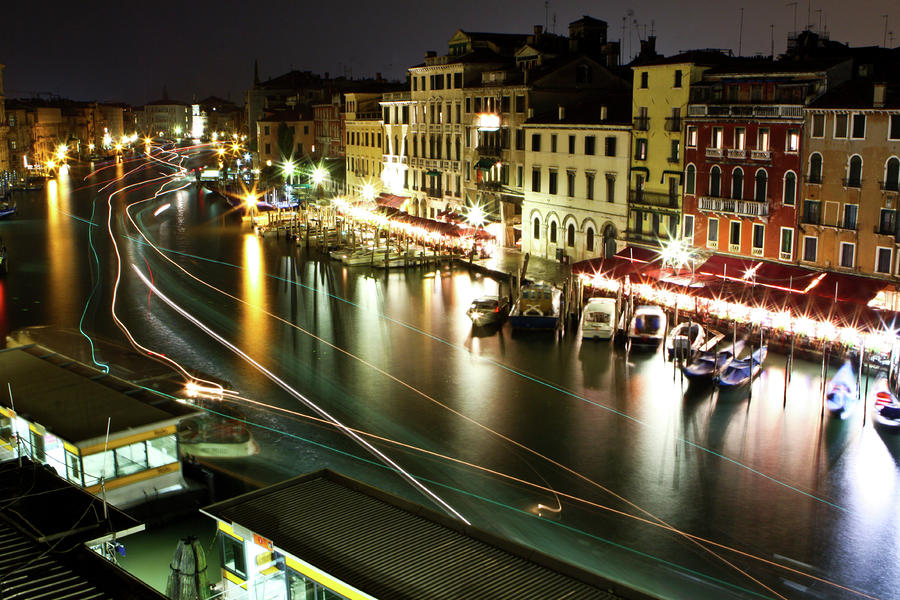 Venice Canal At Night Photograph