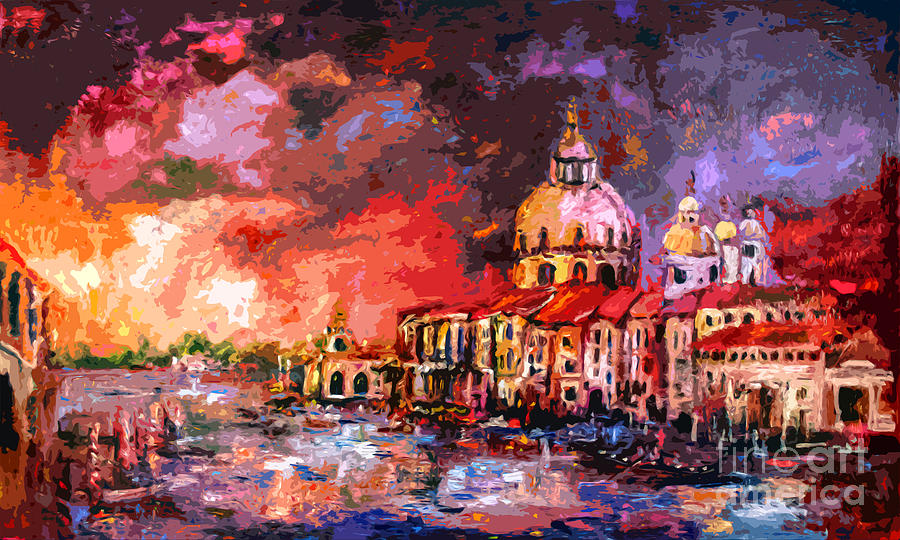 Early Work Painting - Venice Canal Italy  by Ginette Callaway