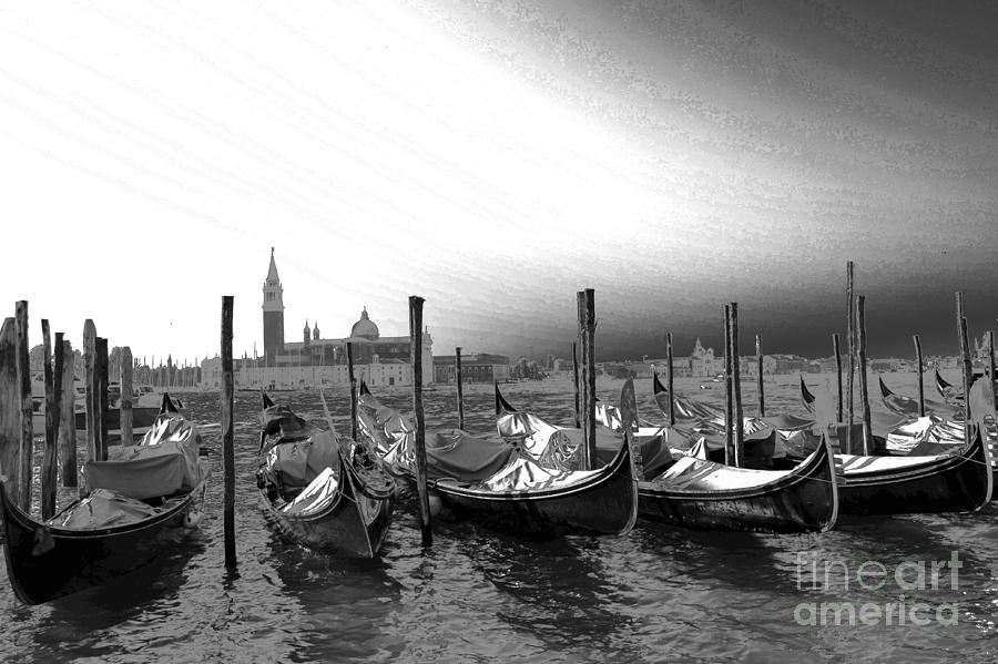 Venice Gondolas Black And White Photograph