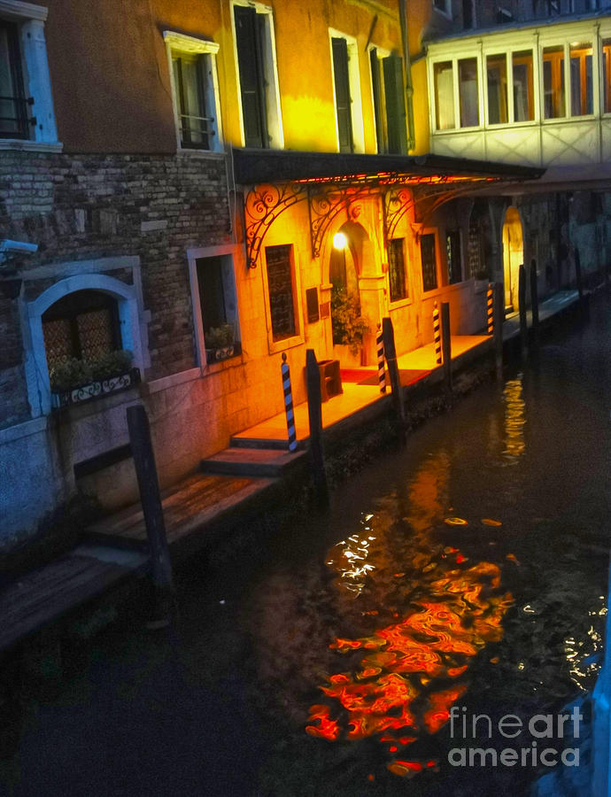 Venice Italy - Canal At Night Painting