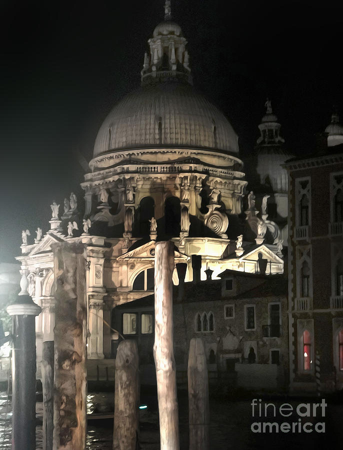 Venice Italy - Santa Maria Della  Salute At Night Painting