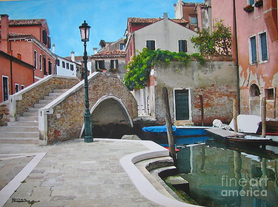 Venice Piazzetta And Bridge Mixed Media  - Venice Piazzetta And Bridge Fine Art Print