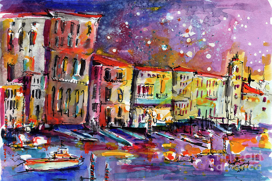 Venice Reflections Celebrating Italy Painting Painting  - Venice Reflections Celebrating Italy Painting Fine Art Print