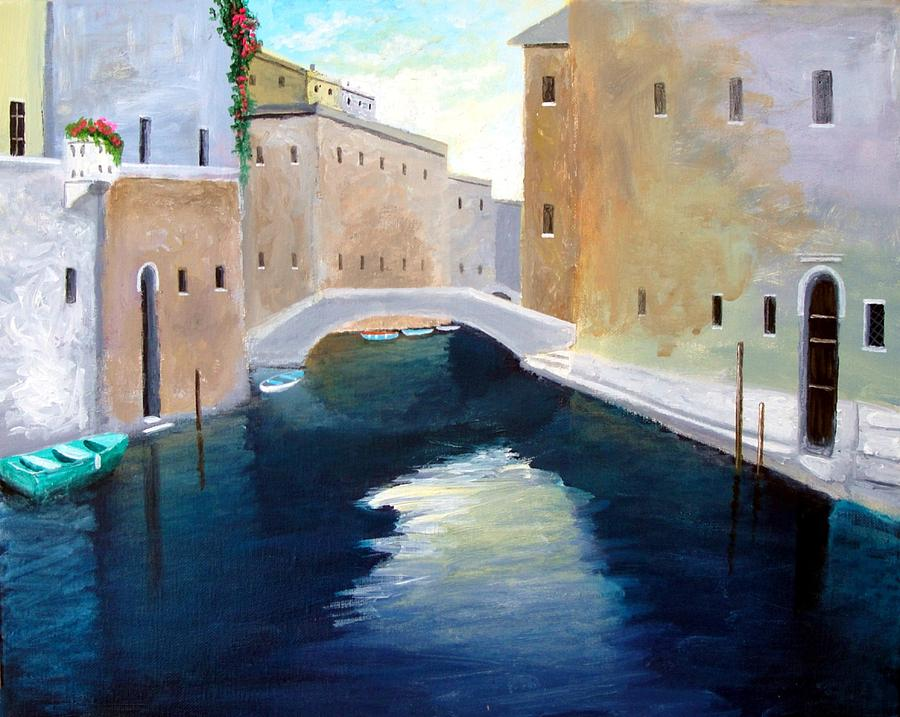 Venice Italy Paintings Painting - Venice Water Dance  by Larry Cirigliano
