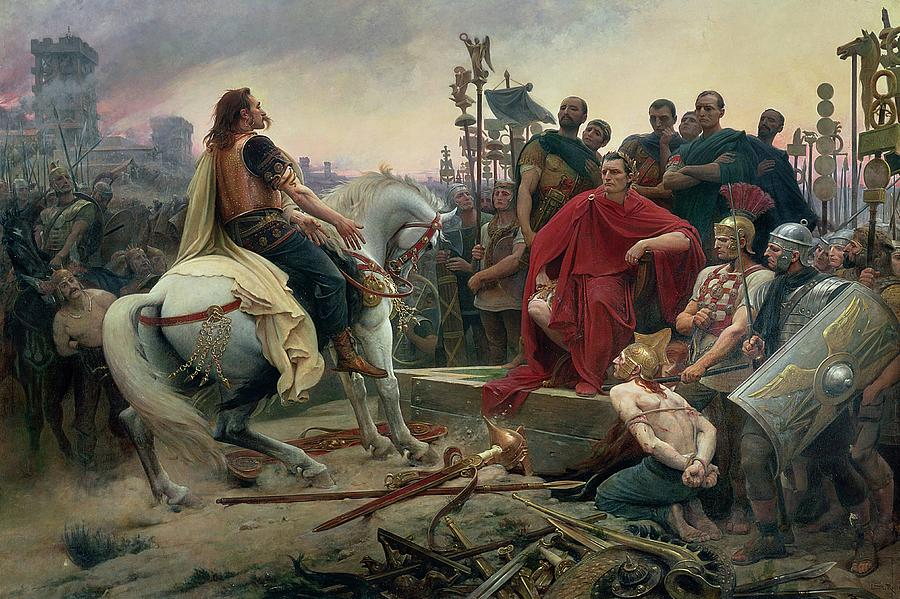 Vercingetorix Throws Down His Arms At The Feet Of Julius Caesar Painting  - Vercingetorix Throws Down His Arms At The Feet Of Julius Caesar Fine Art Print
