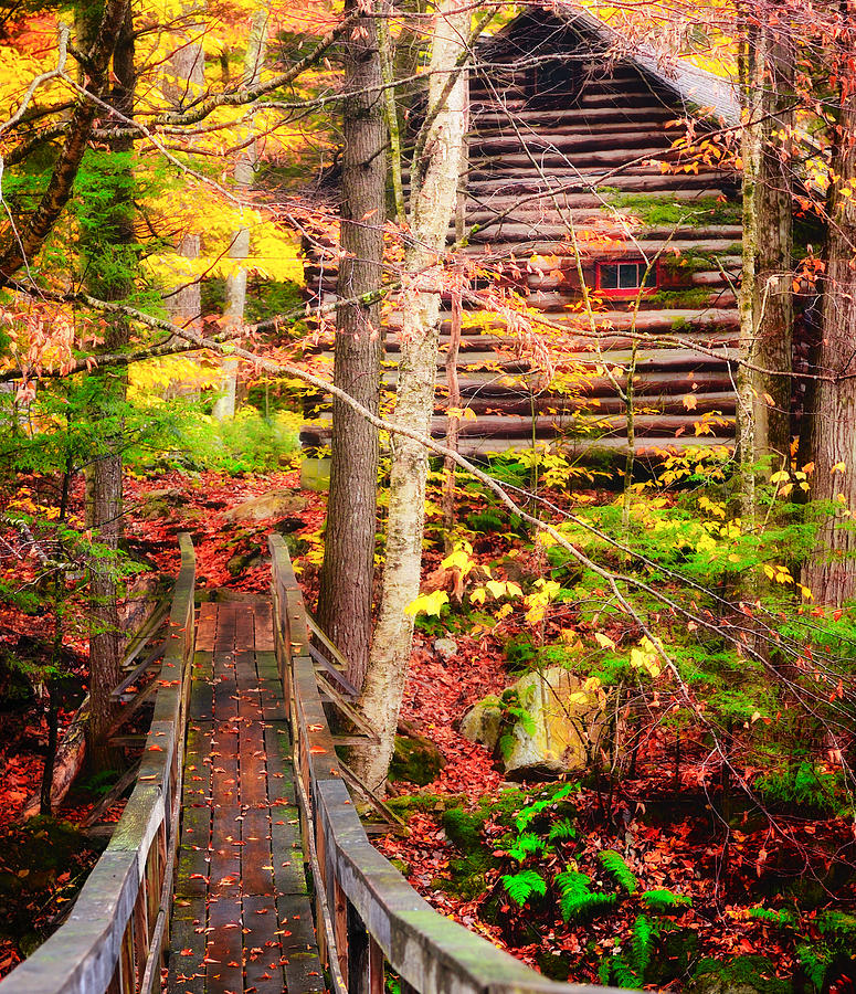 Vermont Hideout - Footbridge Over Roaring Brook Photograph  - Vermont Hideout - Footbridge Over Roaring Brook Fine Art Print