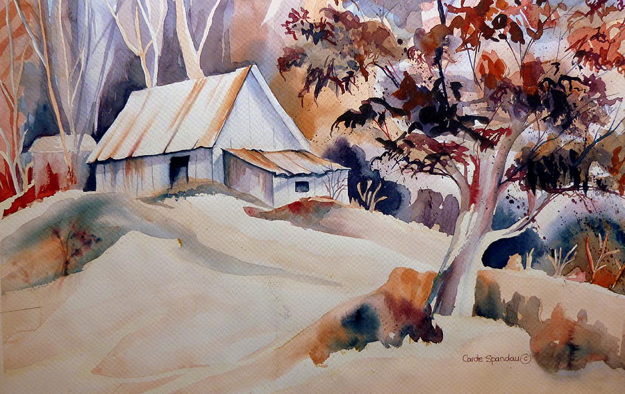 Vermont Sugar Shack Cabin In Winter Painting  - Vermont Sugar Shack Cabin In Winter Fine Art Print
