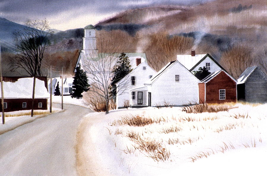 Winter Painting - Vermont Winter Village by Karol Wyckoff