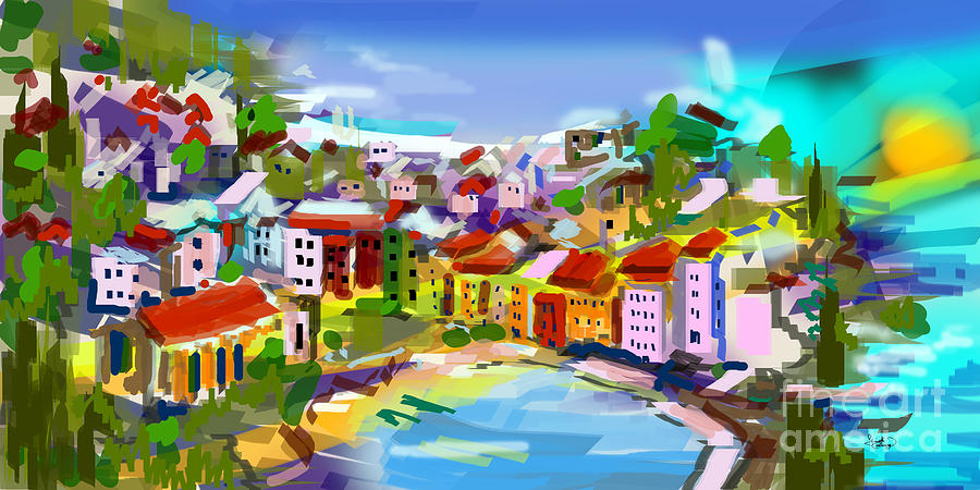 Vernazza Italy Cinque Terre Digital Painting Painting