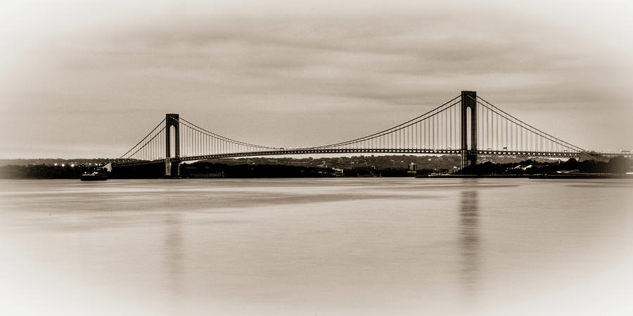 Bay Ridge Photograph - Verrazano-narrows Bridge B-w by David Hahn