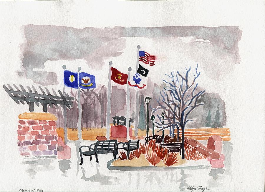 Veterans Memorial Park Painting  - Veterans Memorial Park Fine Art Print