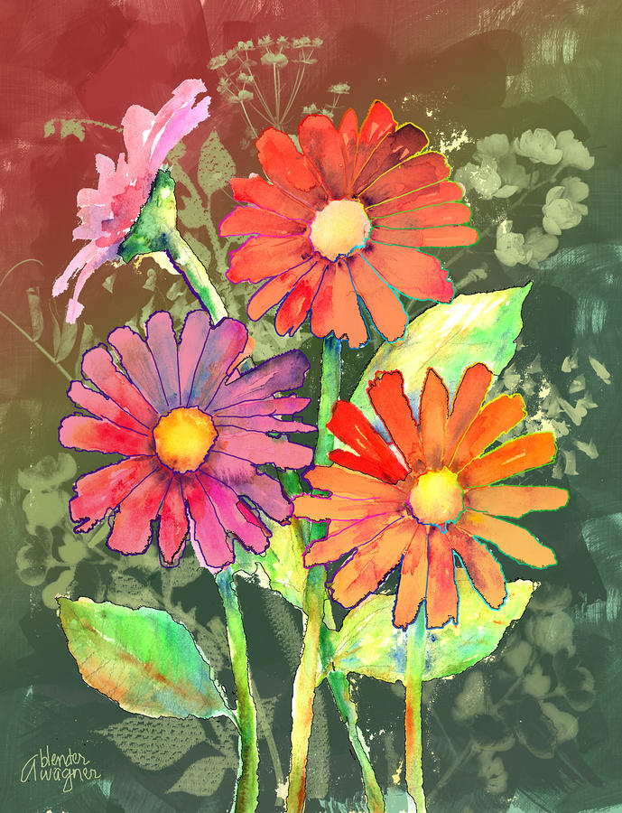 Vibrant Flowers is a mixed media by Arline Wagner which was uploaded ...