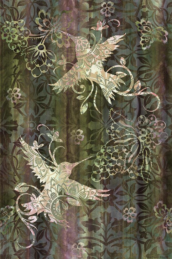 Victorian Hummingbird Green Painting
