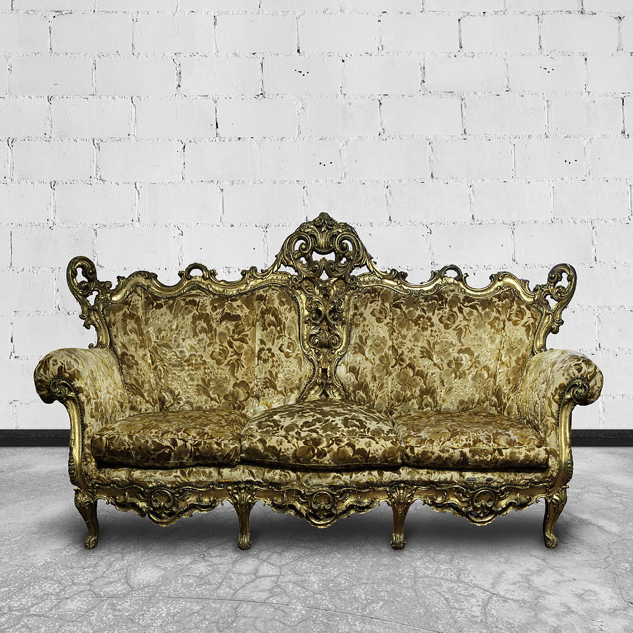 Victorian Sofa In White Room Photograph  - Victorian Sofa In White Room Fine Art Print