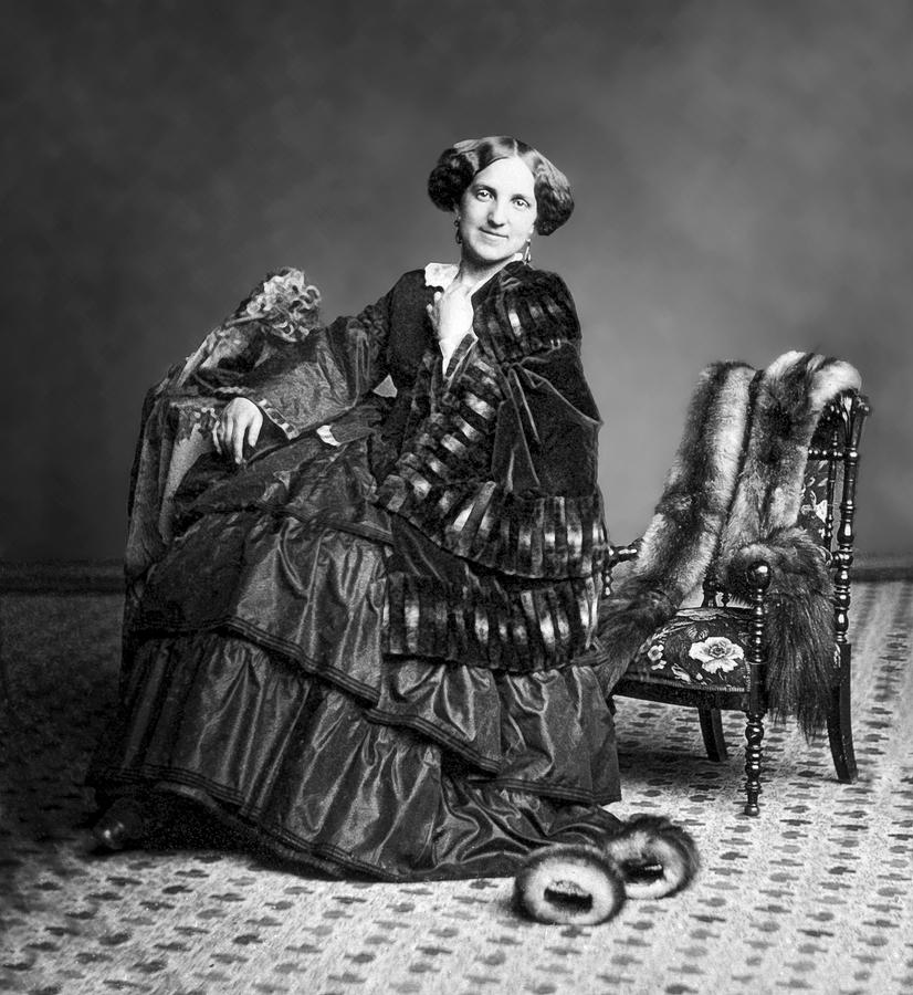 Victorian Woman With Furs C. 1853 Photograph