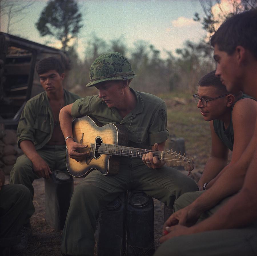 Vietnam War. Us Army Infantrymen Gather Photograph