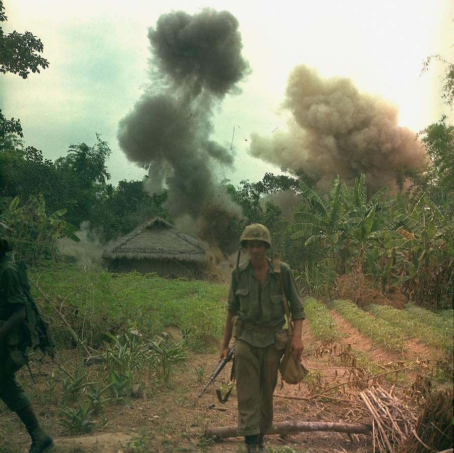 Vietnam War. Us Marines Walk Away Photograph