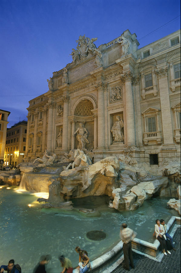 View At Dusk Of The Trevi Fountain Photograph