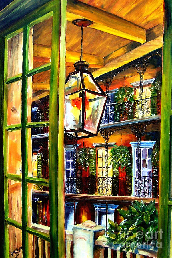 View From A French Quarter Balcony Painting  - View From A French Quarter Balcony Fine Art Print