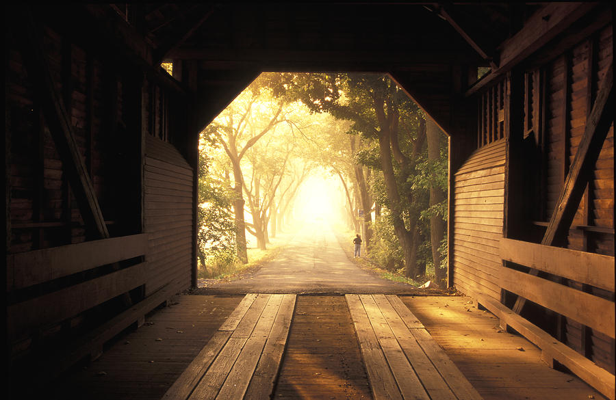 View From Inside A Covered Bridge Photograph  - View From Inside A Covered Bridge Fine Art Print