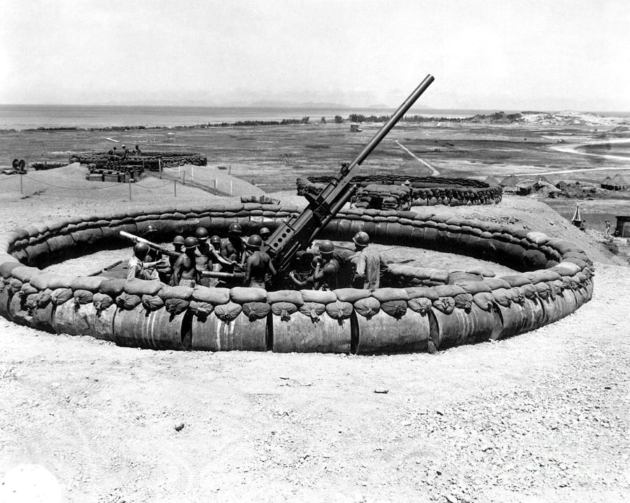 View Of A 90mm Aaa Gun Emplacement Photograph  - View Of A 90mm Aaa Gun Emplacement Fine Art Print
