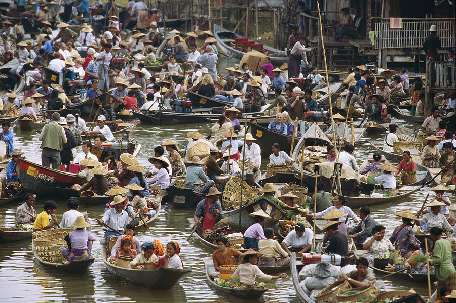 View Of A Crowded Floating Market Photograph  - View Of A Crowded Floating Market Fine Art Print