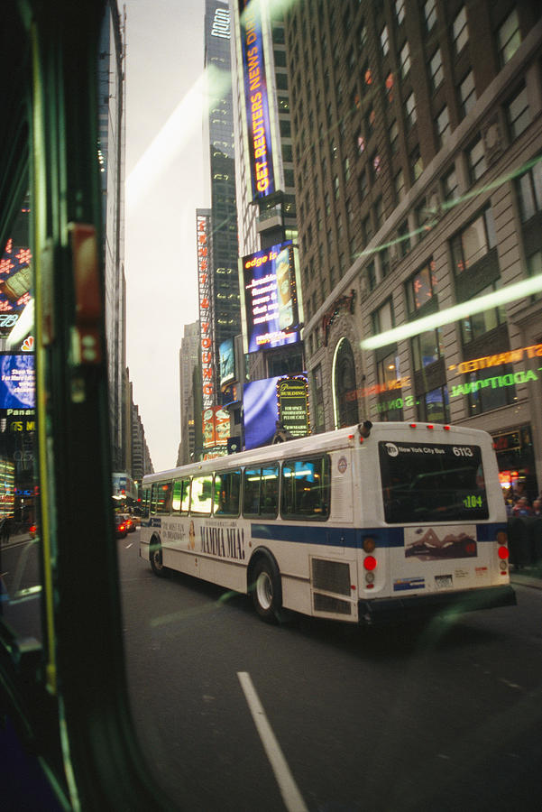 View Of A New York City Bus Photograph  - View Of A New York City Bus Fine Art Print