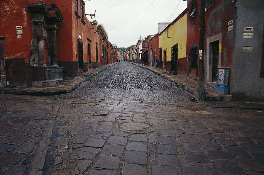 View Of Cobblestone Streets In San Photograph  - View Of Cobblestone Streets In San Fine Art Print