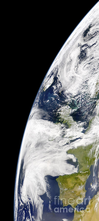 Semicircle Photograph - View Of Earth From Space Showing by Stocktrek Images