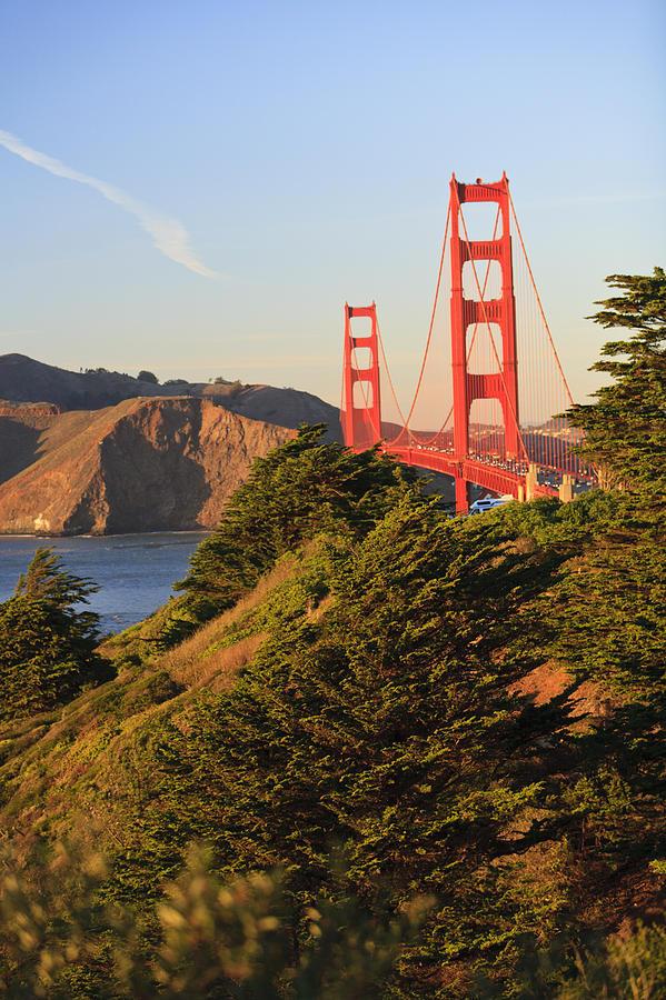 Blue Sky Photograph - View Of Golden Gate Bridge San by Stuart Westmorland