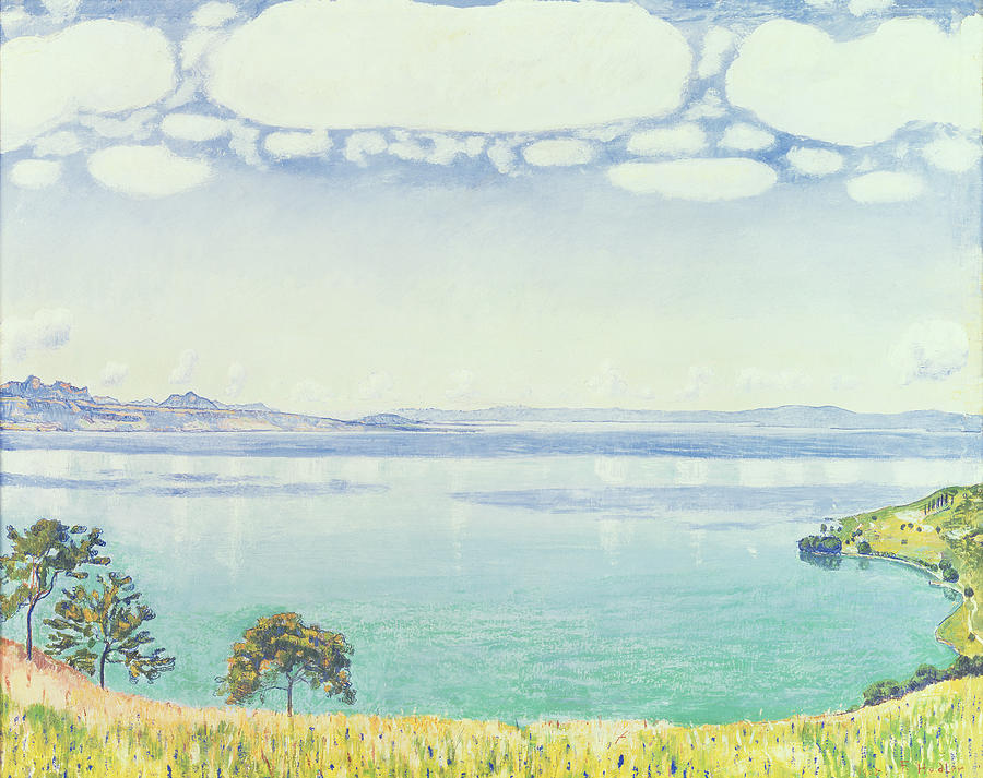 View Of Lake Leman From Chexbres Painting  - View Of Lake Leman From Chexbres Fine Art Print