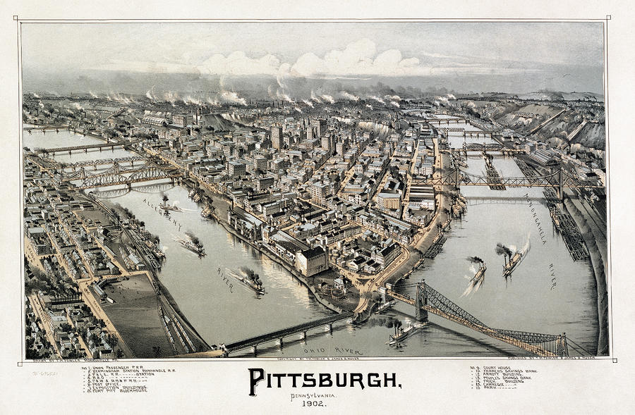 View Of Pittsburgh, 1902 Photograph  - View Of Pittsburgh, 1902 Fine Art Print